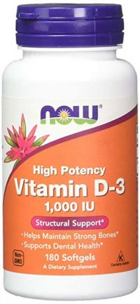 Vitamin D-3 1000 IU,  180 softgels.